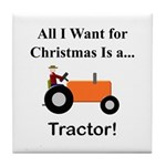 Orange Christmas Tractor Tile Coaster