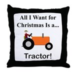 Orange Christmas Tractor Throw Pillow