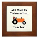 Orange Christmas Tractor Framed Tile