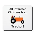 Orange Christmas Tractor Mousepad