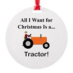 Orange Christmas Tractor Round Ornament