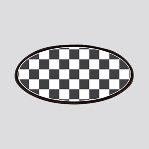 GRAY AND WHITE Checkered Pattern Patches