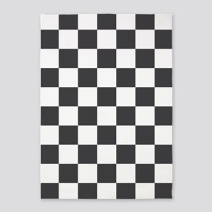 GRAY AND WHITE Checkered Pattern 5'x7'Area Rug