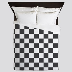 GRAY AND WHITE Checkered Pattern Queen Duvet