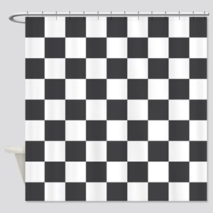 GRAY AND WHITE Checkered Pattern Shower Curtain