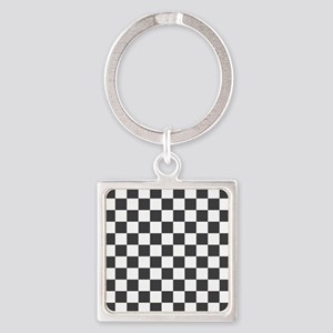 GRAY AND WHITE Checkered Pattern Keychains