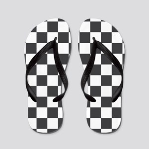 GRAY AND WHITE Checkered Pattern Flip Flops