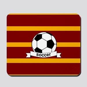 Soccer Ball Banner maroon gold Mousepad