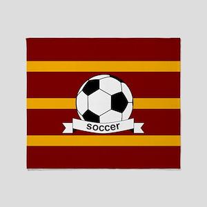 Soccer Ball Banner maroon gold Throw Blanket