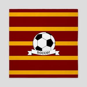 Soccer Ball Banner maroon gold Queen Duvet