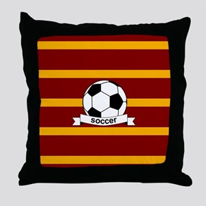 Soccer Ball Banner maroon gold Throw Pillow