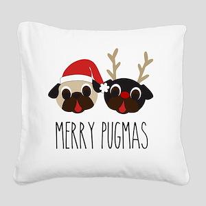 Merry Pugmas Santa & Reindeer Square Canvas Pillow