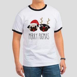 Merry Pugmas Santa & Reindeer Pugs Ringer T