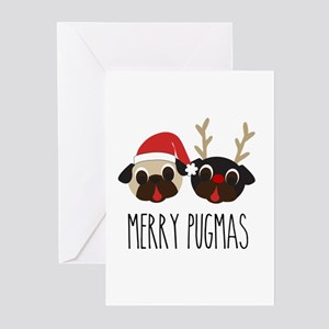 Merry Pugmas Santa & Reindeer Pugs Greeting Cards