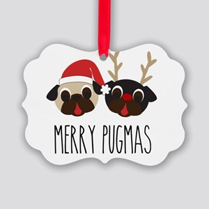 Merry Pugmas Santa & Reindeer Pug Picture Ornament