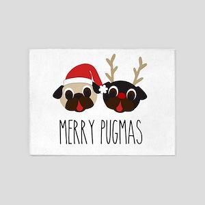 Merry Pugmas Santa & Reindeer Pugs 5'x7'Area Rug