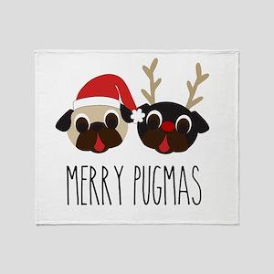 Merry Pugmas Santa & Reindeer Pugs Throw Blanket