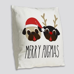 Merry Pugmas Santa & Reindeer Burlap Throw Pillow