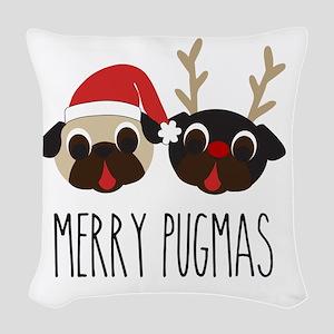 Merry Pugmas Santa & Reindeer Woven Throw Pillow