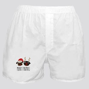 Merry Pugmas Santa & Reindeer Pugs Boxer Shorts