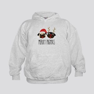 Merry Pugmas Santa & Reindeer Pugs Kids Hoodie