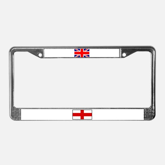 British & English Flags License Plate Frame