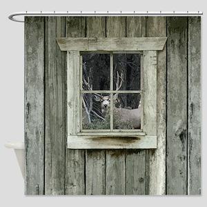 Old Cabin Window Buck 1 Shower Curtain