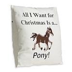 Christmas Pony Burlap Throw Pillow