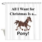 Christmas Pony Shower Curtain