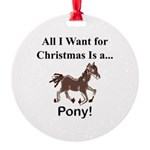 Christmas Pony Round Ornament