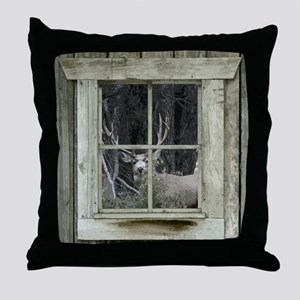 Old Cabin Window Buck 1 Throw Pillow