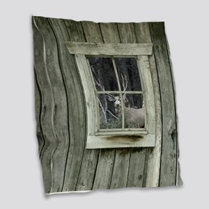 Old Cabin Window Buck 1 Burlap Throw Pillow