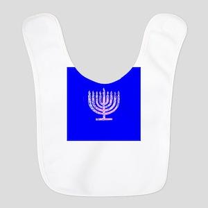 Blue Menorah Hanukkah Lights Maccabees Bib