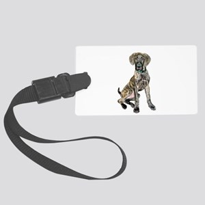 Brindle Great Dane Pup Large Luggage Tag