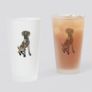 Brindle Great Dane Pup Drinking Glass