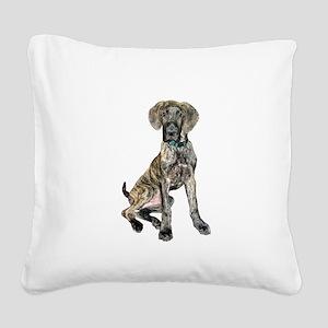 Brindle Great Dane Pup Square Canvas Pillow