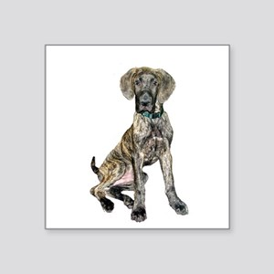 "Brindle Great Dane Pup Square Sticker 3"" x 3"""