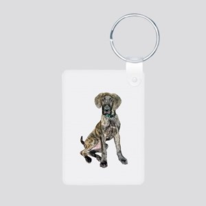 Brindle Great Dane Pup Aluminum Photo Keychain