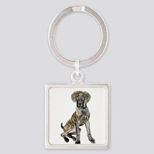 Brindle Great Dane Pup Square Keychain