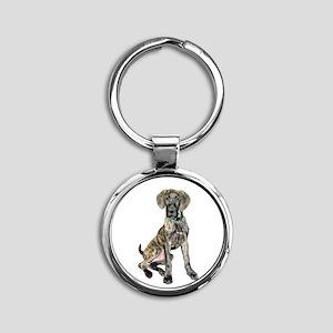 Brindle Great Dane Pup Round Keychain