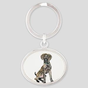 Brindle Great Dane Pup Oval Keychain