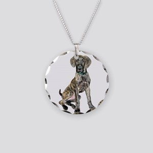 Brindle Great Dane Pup Necklace Circle Charm