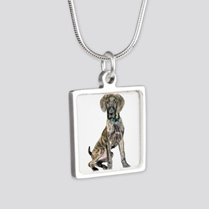 Brindle Great Dane Pup Silver Square Necklace