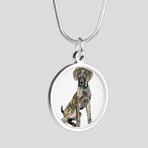 Brindle Great Dane Pup Silver Round Necklace