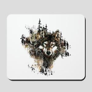 Watercolor Wolf Mountain Art Mousepad