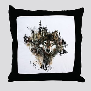 Watercolor Wolf Mountain Art Throw Pillow