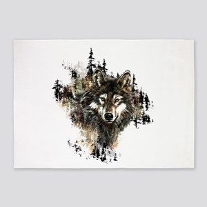Watercolor Wolf Mountain Art 5'x7'Area Rug