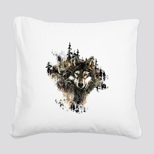 Watercolor Wolf Mountain Art Square Canvas Pillow