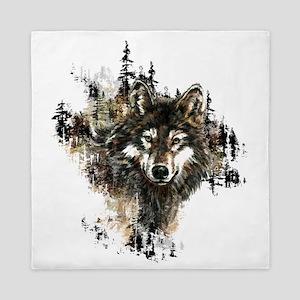 Watercolor Wolf Mountain Art Queen Duvet