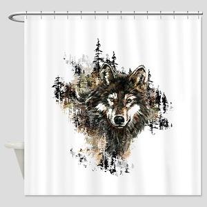Watercolor Wolf Mountain Art Shower Curtain